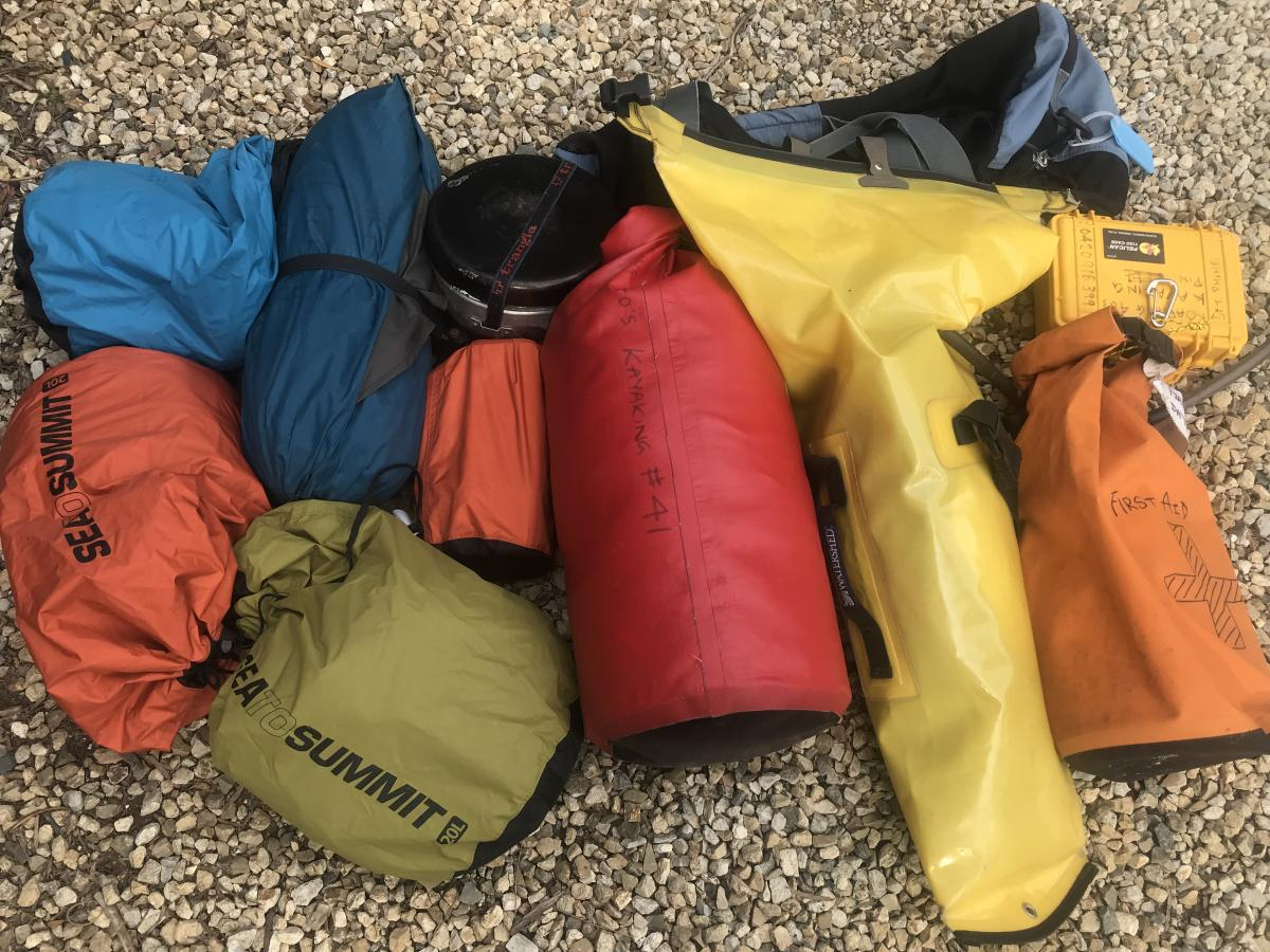 Reg's dry bags for a kayaking expedition
