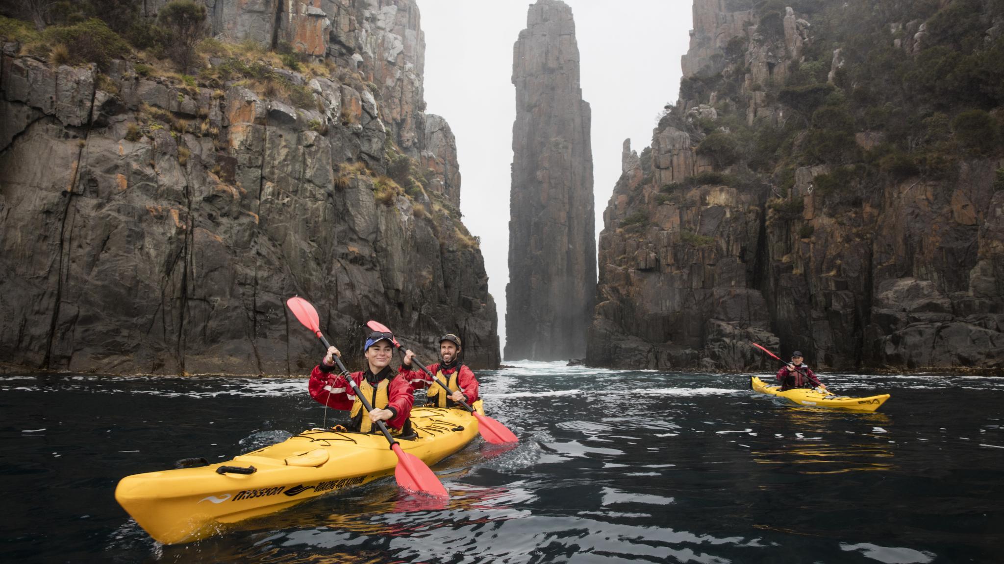 Kayaking beside the Candlestick, Fortescue Bay, Tasman Peninsula