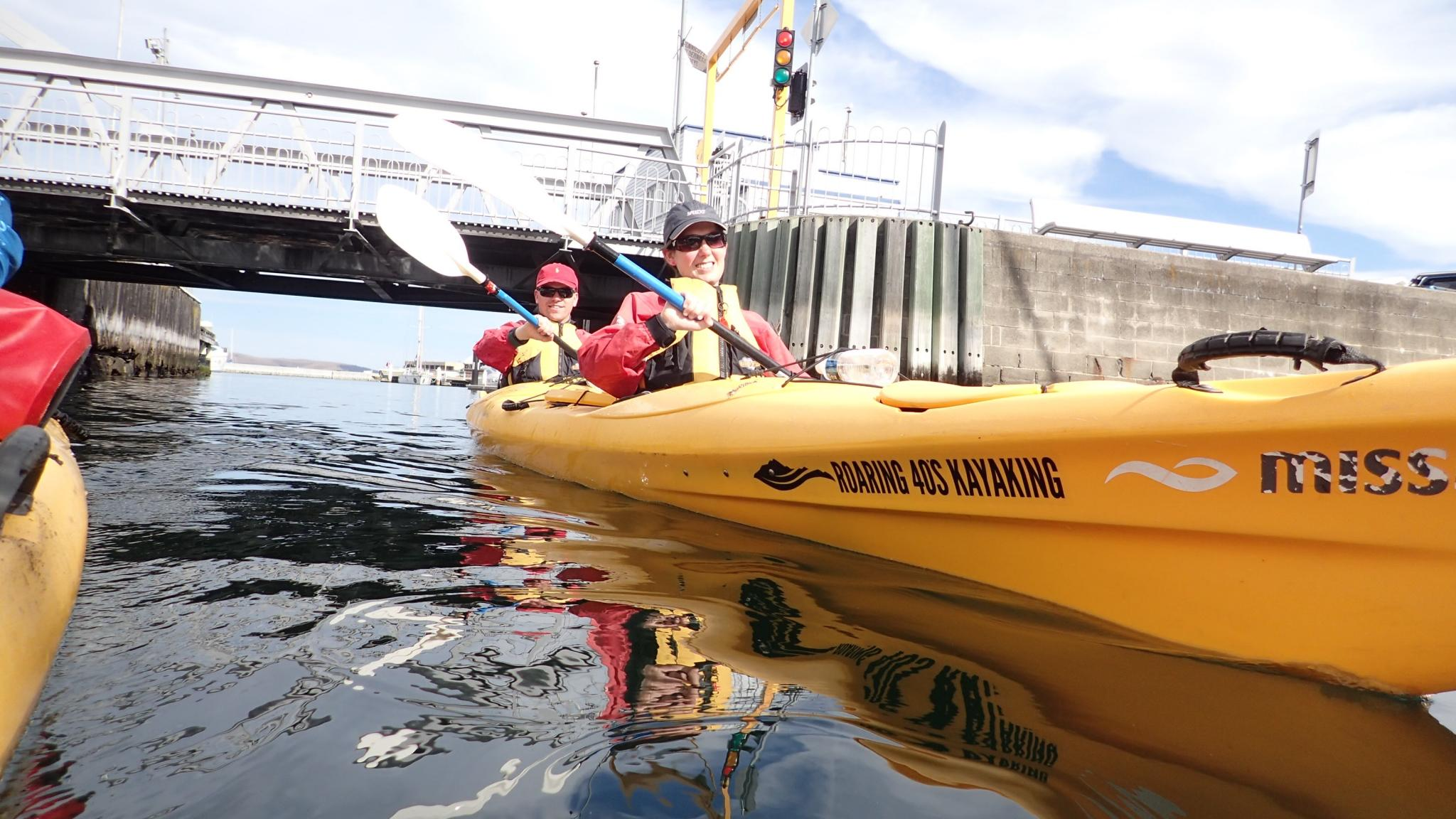 Kayakers on Hobart Waterfront Harbour