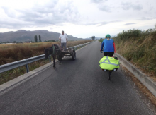 Sue Beaumont cycling in Albania