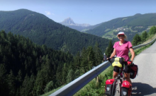 Sue Beaumont cycling in Dolomites, Italy