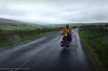 Sue Beaumont cycling in Scotland