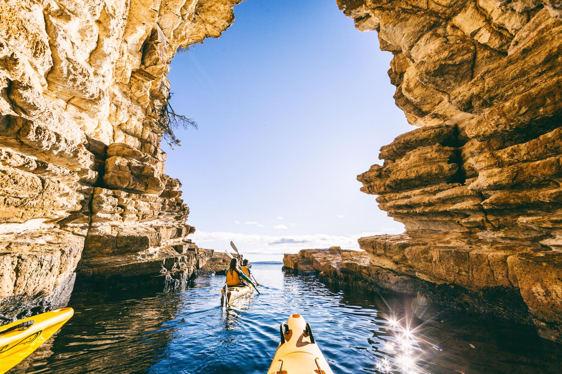 Kayaking sea caves near Hobart